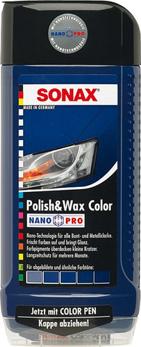 SONAX 296200 Polish & Wax COLOR blau Nano Pro, 500ml